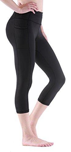 Sudawave Damen Workout Leggings für Damen mit Pocket Running Active Tights Yogahosen (Schwarz(Capri), L) Capri Spandex Jersey