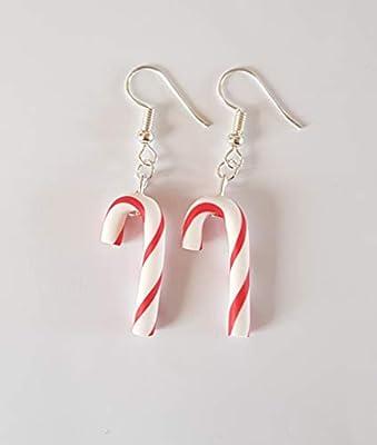 sucre d orge de noel rouge et blanc boucles d oreilles cadeau noel
