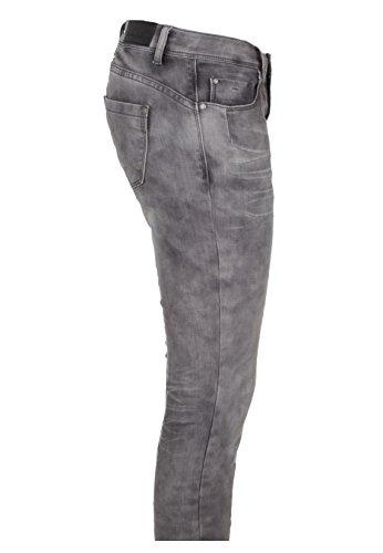 Rock Angel Skinny Fit Blue Jeans - 5-Pocket Denim Damen Röhrenjeans mit schräger Knopfleiste garantiert die perfekte Passfom Grey
