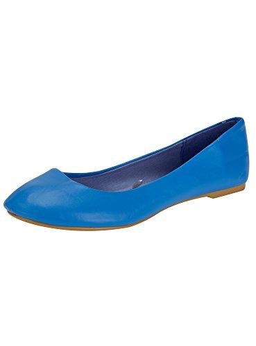 oodji Ultra Damen Kunstleder-Ballerinas Basic, Blau, 40 EU / 6.5 UK (Kunstleder Blau, 6.5)