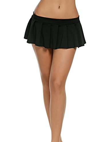 Avidlove Mini Rock Schulmädchen Skirt Damen Kurz Minirock Röcke Frauen Sexy Dessous Solid gefaltet Nachtwäsche Reizvolle, Schwarz, S (Schwarz Sexy Dessous Für Frauen)