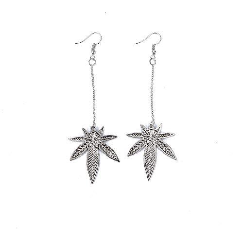 HIWSSH Ohrring Women 1Pair Long Tassel Antique Silver Harajuku Plant Maple Leaf Drop Dangle Ohrrings Personality Eardrop Piercing Ohrring Long -