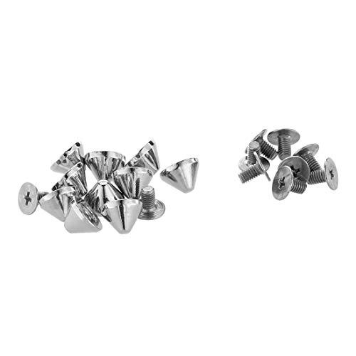 SODIAL(R) 10 Stuck Kupfer Schraubnieten Killer Nieten Killernieten Spikes Silber Farbe NEU