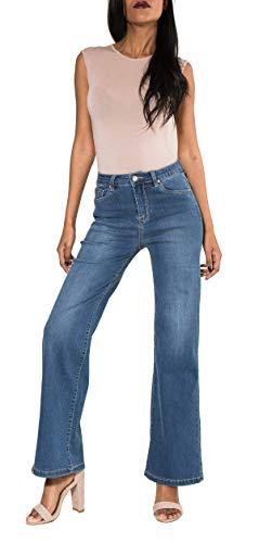 Nina Carter Damen Stretch Flare Jeans Denim blau Boot Cut Schlaghosen größe 40 -