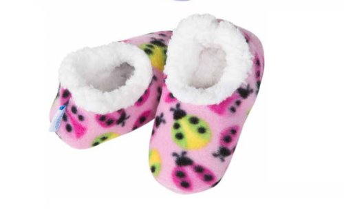 baby-snoozies-age-6-12mths-pink-ladybirds-design-sherpa-fleece-slippers-cosy-foot-coverings