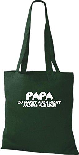 Shirtstown Stoffbeutel Papa du warst auch nicht anders als Kind, Fun kult Baumwolltasche Beutel Shopper Umhängetasche viele Farben gruen