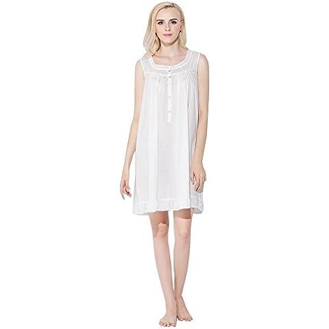 Jinyufeng Donne Camicia da Notte Collo Square è Senza Maniche Bianco DK2661 (S/M)