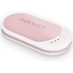 AOOKEY Chauffe-Mains Rechargeable USB 5200mAh Power Bank Batterie Externe Chaufferette Main Électrique Poche Réchauffeur de Mains Portable Cadeaux pour Hommes Femmes en Hiver Froid - Rose