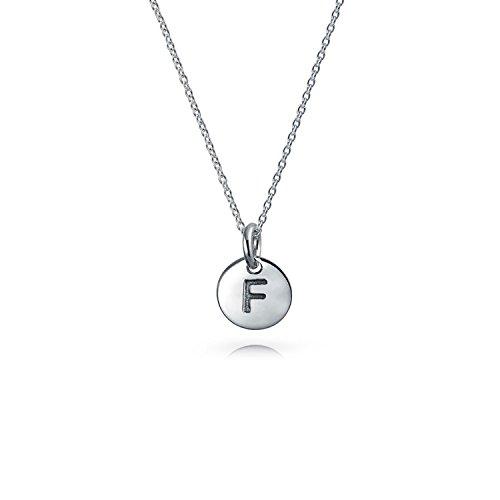 4550ae51f307 Letra F Bloque pequeño Alfabeto en mayúsculas iniciales disco redondo  Colgante Collar de plata esterlina 925