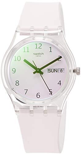 Swatch Unisex Erwachsene Analog Quarz Uhr mit Silikon Armband GE714