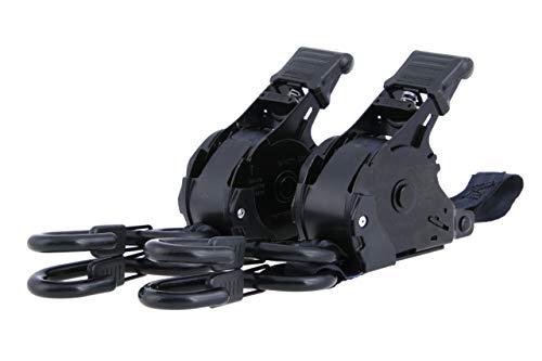 2er Set Automatik Spanngurte 3,65m selbstaufwickelnd, 25mm, LC 340 kg, mit beschichteten S-Haken mit Sicherung, nach DIN EN 12195-2, Automatik Aufrollung Zurrgurte