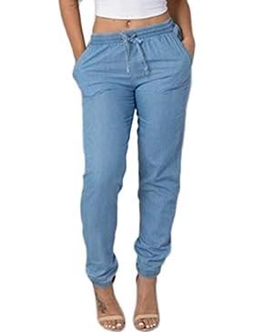 CICIYONER Mujeres Cintura elástica Pantalones Casuales Pantalones Vaqueros Cintura Alta Casual Pantalones Vaqueros...
