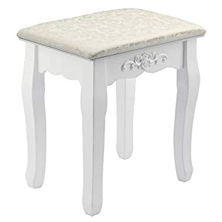 MultiWare Dressing Table Stool Makeup Seat Baroque Piano Chair White