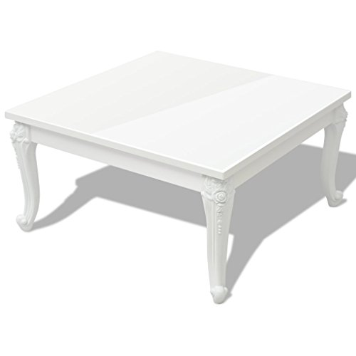 Festnight Table Basse Carré Blanc Brillant 80 x 80 x 42 cm