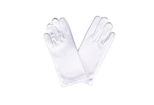 Flora Handschuhe mit kurzen Fingern, Satin, für Blumenmädchen Brautjungfer/Kinder kurze fingerhandschuhse, ideal für Taufe/Kommunion, Länge: bis zum Handgelenk, Weiß