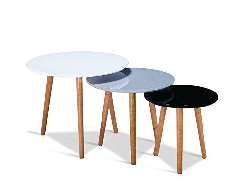 Tables gigognes scandinave en Bois (Set de 3 Table Gris Blanc Noir) Pieds en Bois