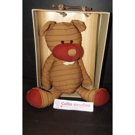 Histoire d'ours - Doudou histoire d'ours ours couture beige rayure rouge 38cms HO1075 - 3512