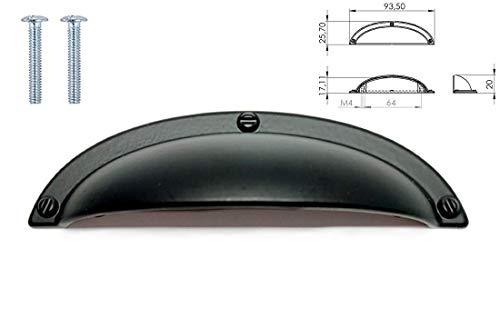 Türknauf aus poliertem Nickel mit mattem Rosendesign und Kupfer-Türgriff, für Küchenschrank, Schrank, Schublade - 64mm Hole Center - 93,50 Overall Length - mattes schwarz -