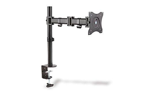 DIGITUS Single Monitor mit Tisch-Klemmhalterung, 45ø schwenkbar, 45ø Neigung, Drehung 360ø, 38-69 cm,  max Gewicht 8 kg, VESA 100x100, schwarz Vesa-single
