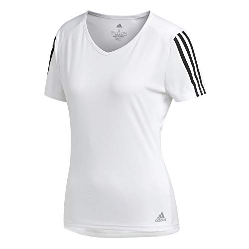 Adidas run 3s tee w, t-shirt donna, white/black, s