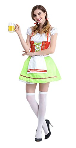 Honeystore Damen Halloween Kostüme The Munich Oktoberfest Fashion Uniform Cosplay Allerheiligen Kleider für Oktoberfest Grün M