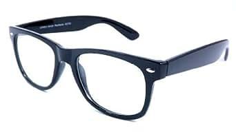 BLACK WAYFARER STYLE CLEAR LENS GLASSES GEEKY NERD MEDIUM FRAME Designer Retro