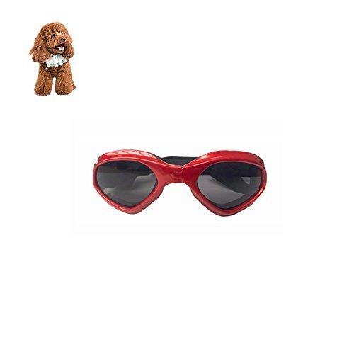 Petacc Gafas de Sol Mascotas Gafas Decorativas Gafas Protectoras con Correas Ajustables, Aptas para Perros y Gatos de Pequeño Tamaño, Rojo