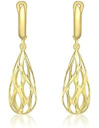 Carissima Gold Damen-Ohrhänger 9ct Yellow Cut Out Large Teardrop Earrings 375 Gelbgold-1.54.3869
