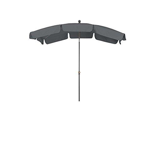 Siena Garden Mittelstockschirm Tropico durch Push-Up-System leicht zu öffnen Größe 2,1x1,4 m in silber-grau