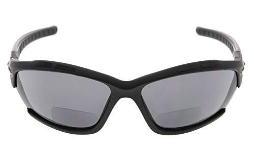 Eyekepper TR90 Sport Bifocal Sonnenbrille Baseball Laufen Angeln Fahren Golf Softball Wandern Leser Mattschwarzer Rahmen Graue Linse +1.25