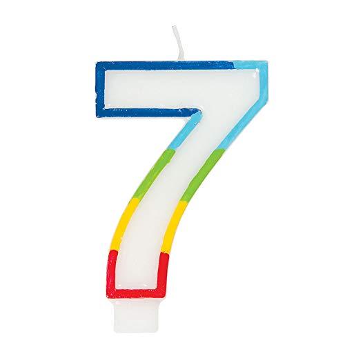 Unique Party 19947 - Vela de cumpleaños con borde arcoíris número 7