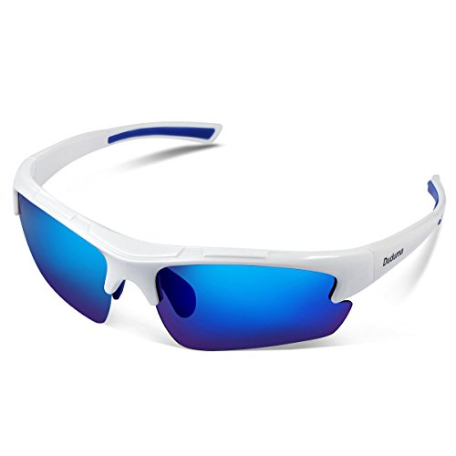 Duduma Polarised Sports Sunglasses mens and womens for Fishing Running Cycling Driving Ski Golf Tr62 (white frame, blue lens)