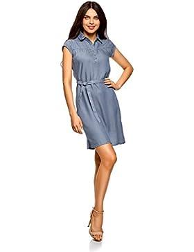 oodji Collection Damen Lyocell-Kleid mit Gürtel