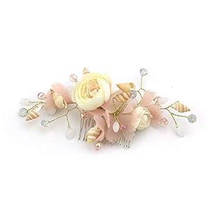 Littlefairy Braut Haarschmuck,Intarsien Kristall Legierung Kämmen die Braut Haar Kamm Stoff rosa Seide Blume Muschel Kopfschmuck 9 * 14,5 cm
