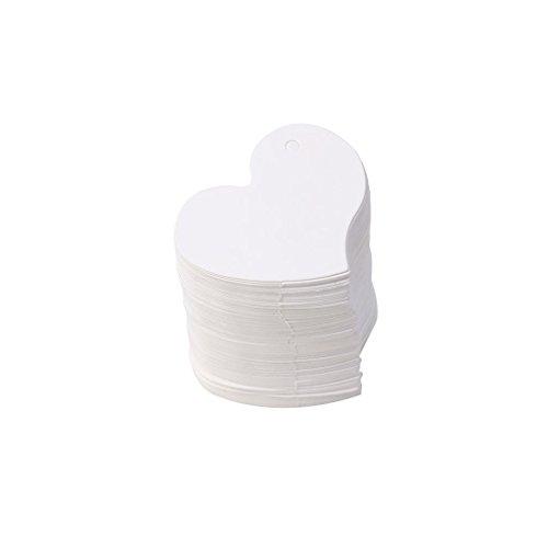Carte de Papier, étiquette en Forme de Coeur de Carte Kraft Vierge, étiquette de Cadeau, fête de Bricolage 100pcs