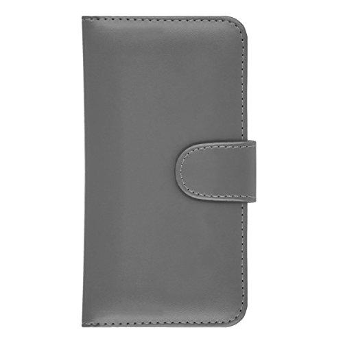GizzmoHeaven iPhone 7 Étui en cuir porte-carte housse coque case cover pour Apple iPhone 7 avec protecteur d'écran et stylet - Bleu Gris