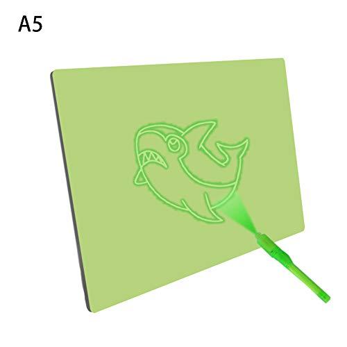 Zeichentafel mit fluoreszierender Beleuchtung, grüner Beleuchtung, magischer Schreibblock, Malunterlage, lustiges Spielzeug für Kinder A5 Wie abgebildet