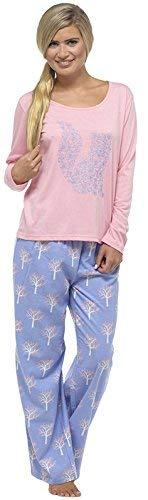 TomFranks, langer Winter-Schlafanzug für Damen aus Polycotton, Alarm/Cuppa bedruckter Pyjama, Nachtwäsche Set Gr. 42/44, Fox - Pink/Blue