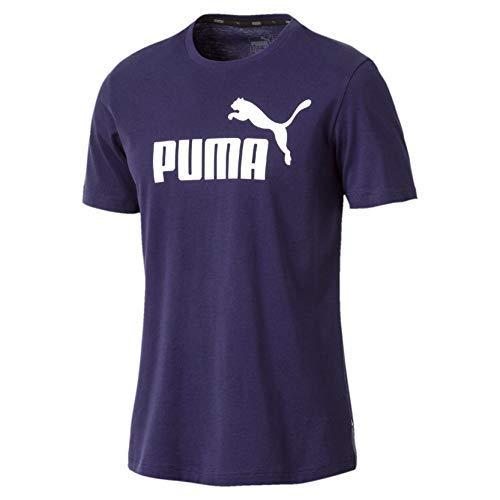 Blau-arbeits-handschuhe (Puma Herren ESS Logo Tee T-Shirt, Blau (Peacoat), Gr. S)