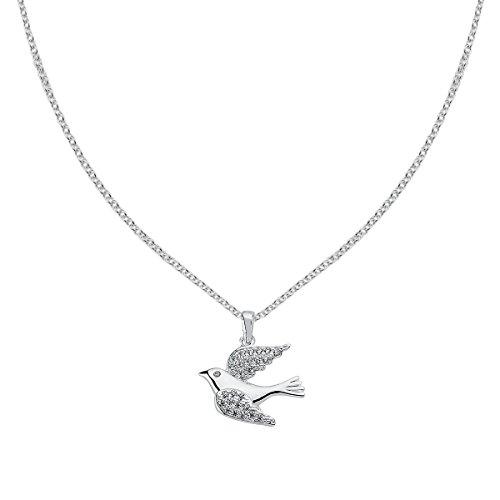 Vinani Anhänger Vogel mit weißen Zirkonia elegant glänzend mit Fiorentina Kette 45 cm Sterling Silber 925 Kette Italien Taube Bird 2AVO-F345