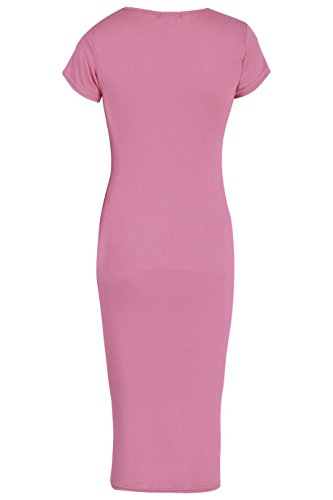 Mesdames Viscose Cap manches bodycon Midi Dress EUR Taille 36-42 Rose