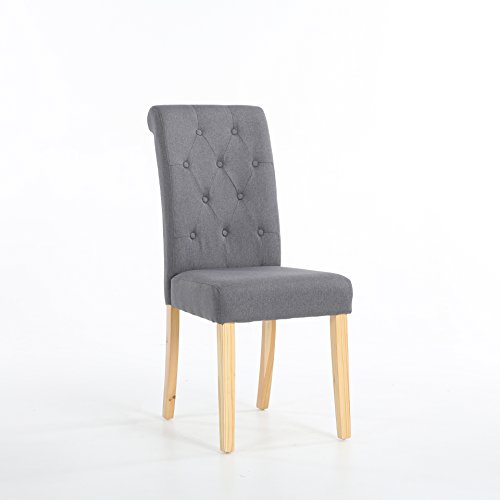 The Home Garden Store Set of 2 Premium Linen Fabric Dining Chairs Scroll High Back Dark Grey