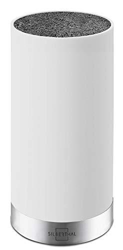 SILBERTHAL Universal Messerblock - Borsteneinsatz herausnehmbar - ohne Messer - unbestückt - Messeraufbewahrung mit Edelstahlring - Weiß