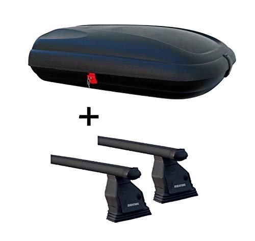 Dachbox VDPBA320 320 Ltr Carbonlook abschließbar + Dachträger Menabo Tema für Mitsubishi ASX ohne Reling Stahl