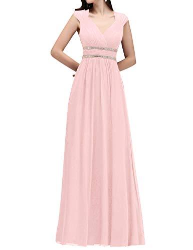VKStar Damen Ärmellos Abendkleid Lang Chiffon V-Ausschnitt Hochzeitskleid mit Strass Blush 42