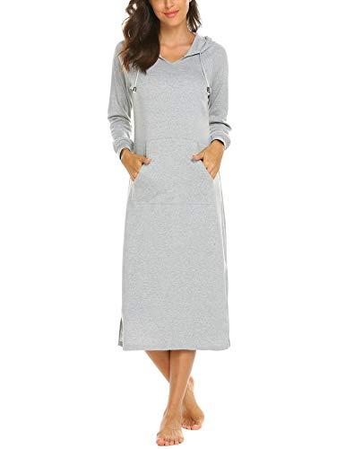 MAXMODA Damen Nachthemd Baumwolle Spitze Nachtwäsche Nachtkleid Negligee Sleepshirt