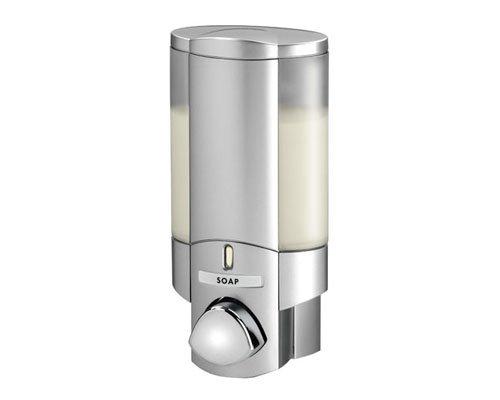 Aviva - Dispensador - Acabado en plata satinada - Fijación adhesiva segura - No requiere tornillos