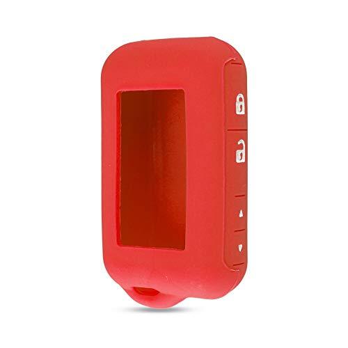SUNQQB KEYYOU Silikonhülle Schlüsselabdeckung Für Starline E90 E63 E91 E61 E95 E66 E60 LCD Zweiwegautowarnungsfernfall Keychain Sender,Red - E60 Lcd