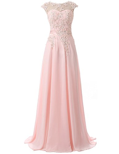 Clearbridal Damen Chiffon Lange Ballkleider Abschusskleider Abendkleider mit Applikation CSD181 Rosa...