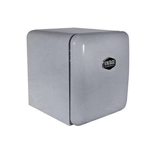 Vintage Industries ~ Mini Retro-Kühlschrank Miami 2018 in silber   Mini-Bar 50er Jahre Look   Größe: 50cm & 48l Volumen   höhenverstellbarer Tisch-Kühlschrank mit manueller Temperatureinstellung